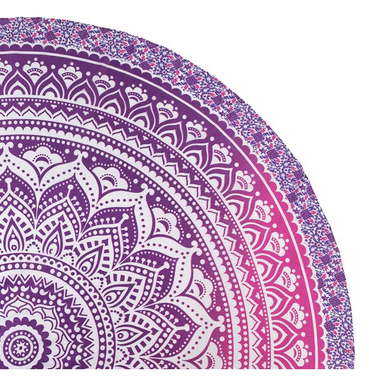Round Beach Throw Pink Ombre Mandala