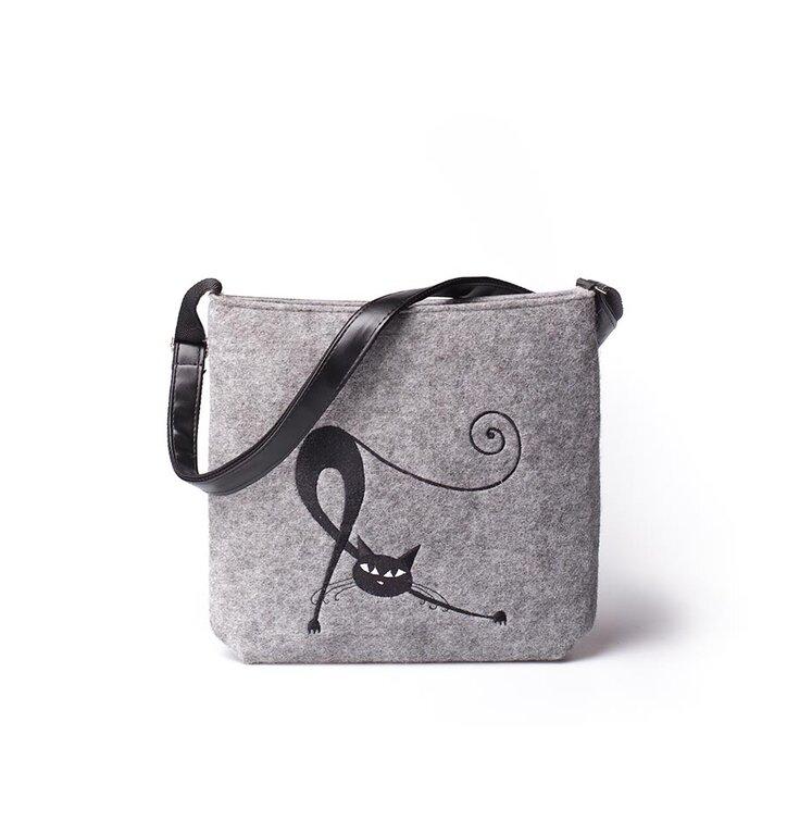Messenger Handbag - Stretching Cat