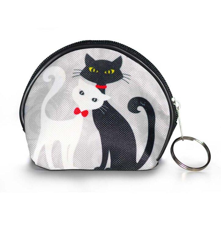 Peňaženka mincovník - Čierna a biela mačka
