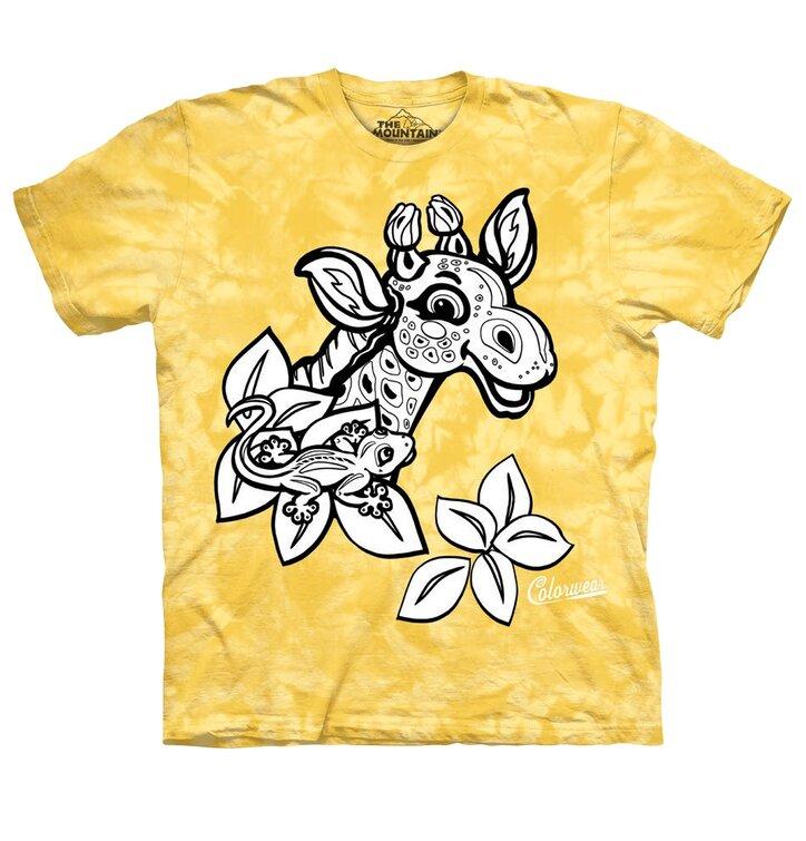 Detské vyfarbovacie tričko Žirafa - žlté