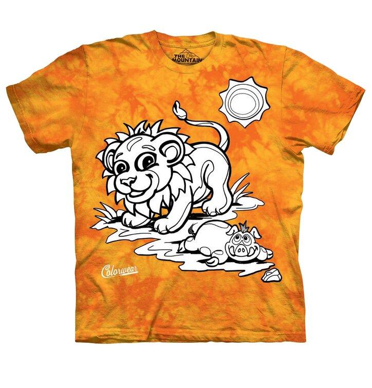 Detské vyfarbovacie tričko Lev - žlto-oranžové