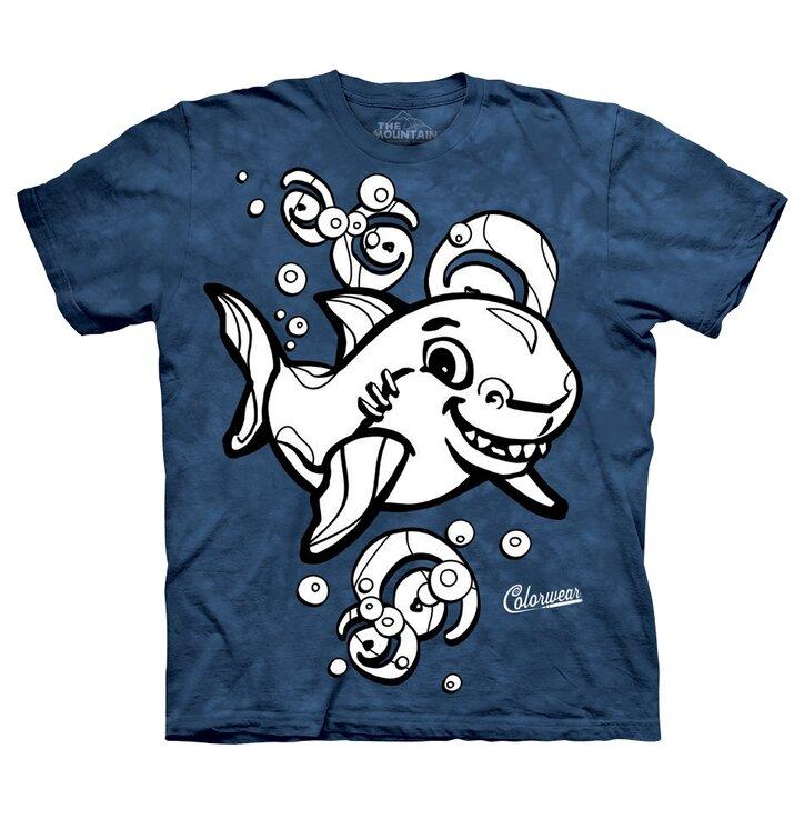 Gyermek kiszínezhető póló Cápa - kék