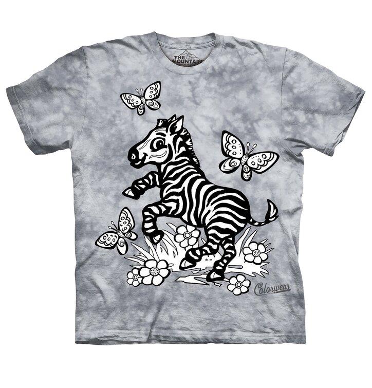 Detské vyfarbovacie tričko Zebra - šedé