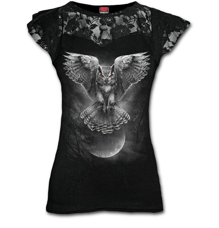 Ladies' T-shirt with Lace Owl Wings