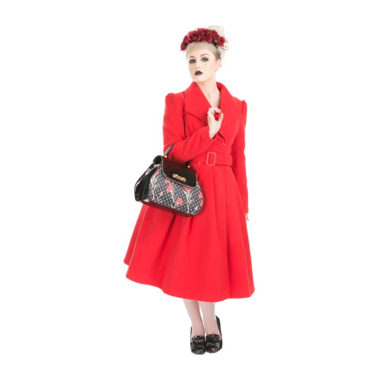 Tip na darček Červený dámsky retro kabát s opaskom 20f830f93fb