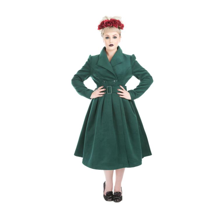 Smaragdovo zelený dámsky retro kabát s opaskom