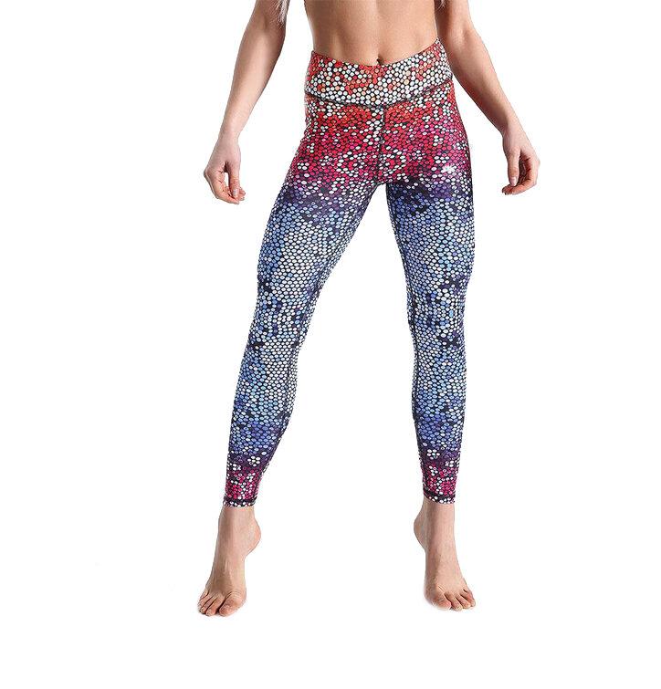 Dámske športové elastické legíny Rainbow Mosaic