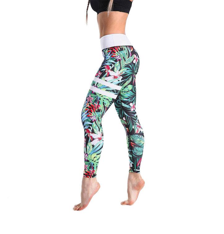 Női sportos elasztikus leggings Striped Tropics