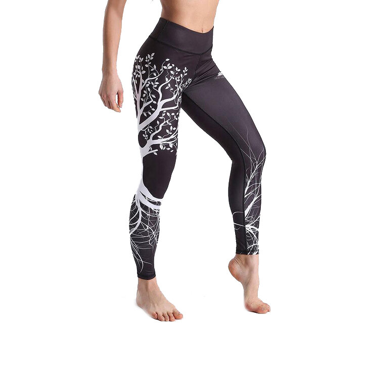 Damen Sport Leggings Elastisch White Tree