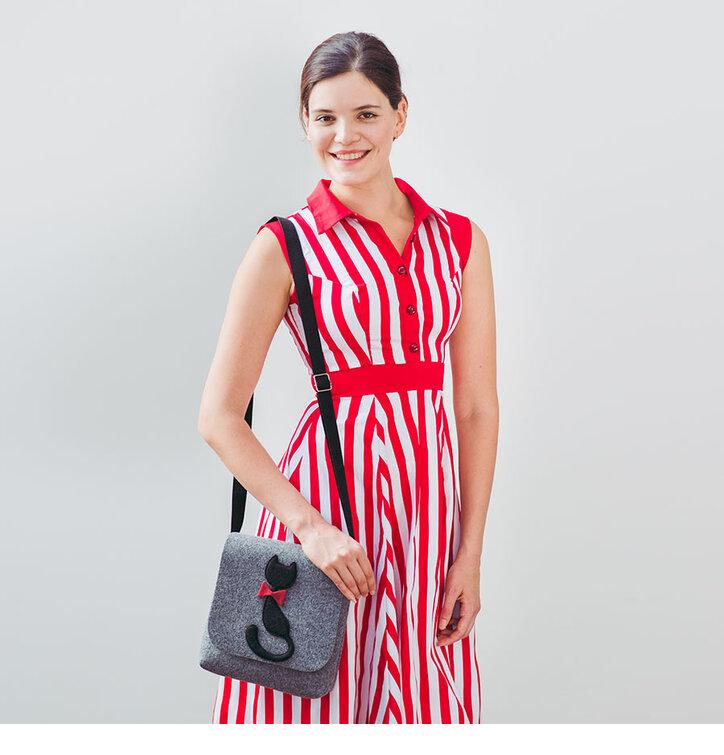 edbfa62f594a Pre dokonalý a originálny outfit Red and White Striped Retro Pin Up Dress