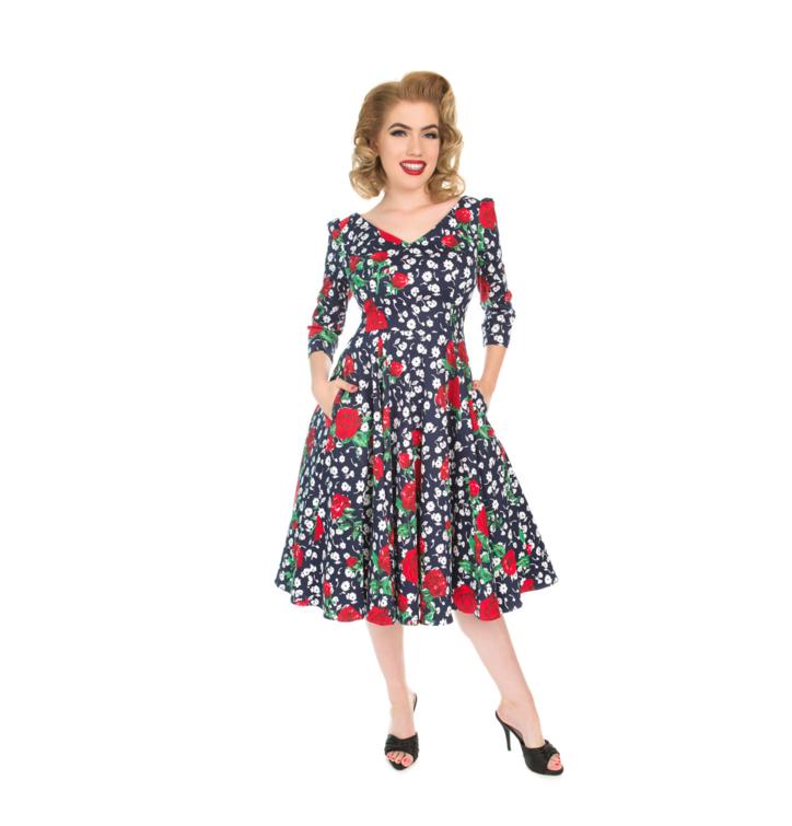 Retro pin up šaty s rukávom Biele a červené kvety