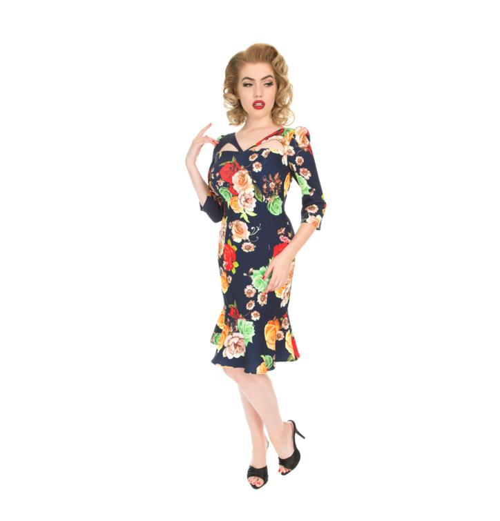 934b3a7400f6 Výprodej Retro pin up šaty s rukávem Barevné růže