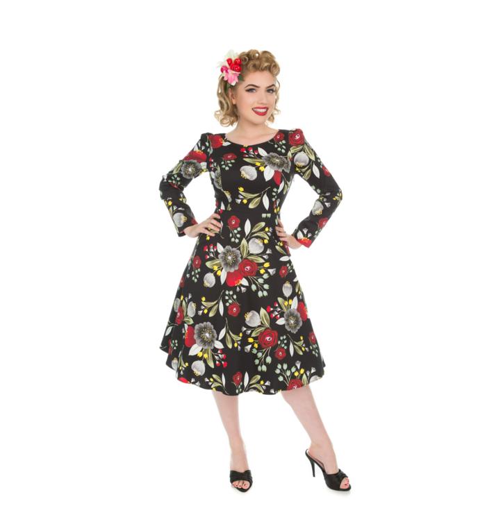 Potešte sa týmto kúskom Dedoles Retro pin up šaty s rukávom Jesenný čaj ec116287716