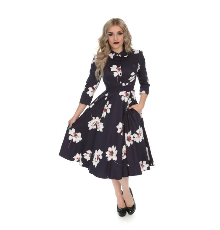 Retro pin up šaty s rukávom Kvetový sen
