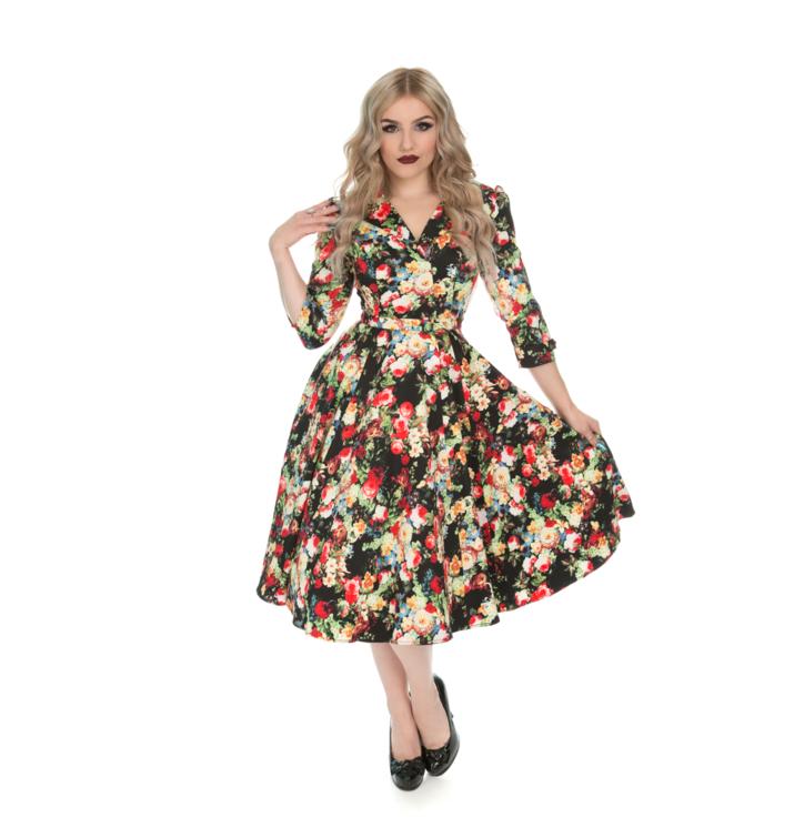 Retro pin up šaty s rukávom Letná lúka