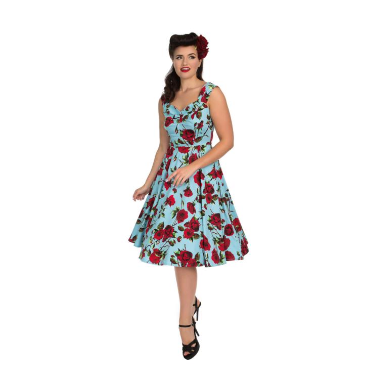 Retro pin up šaty Záhon ruží