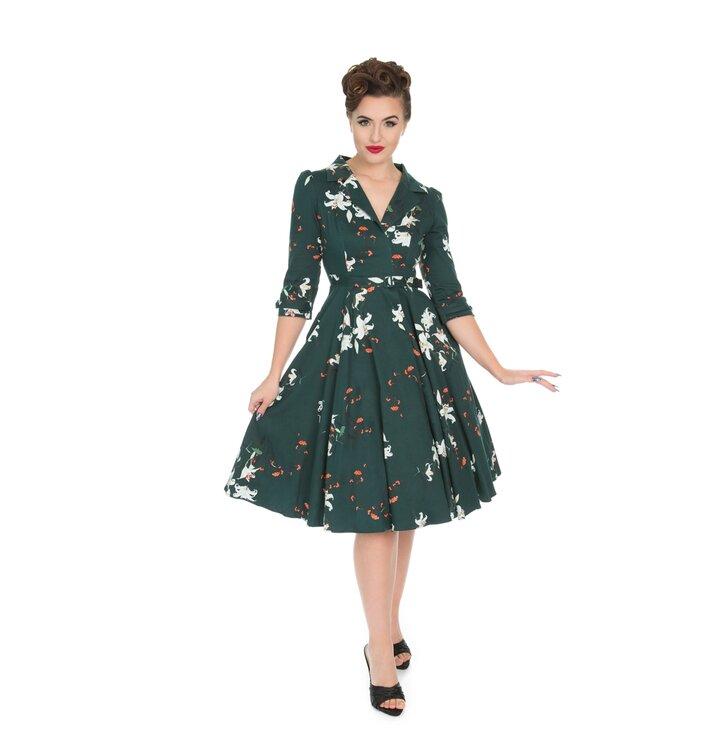 Vintage Pin Up Kleid mit Ärmel Grün Lilie | Dedoles