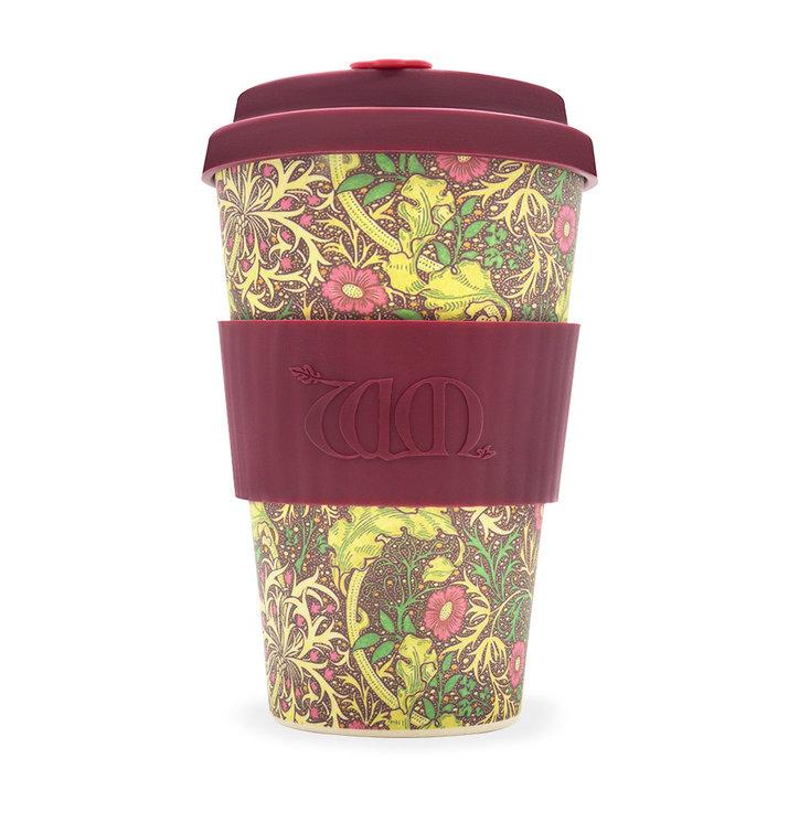 Bambusový ecoffee cup Seaweed red William Morris
