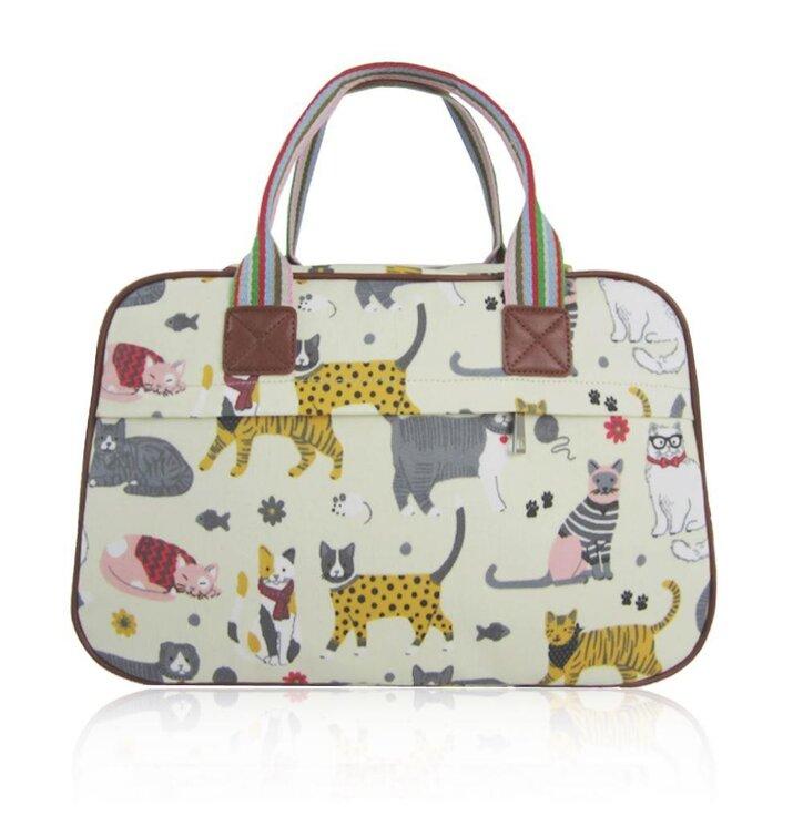 590e41fffc84c Veľká béžová cestovná taška Mačací mix | Dedoles