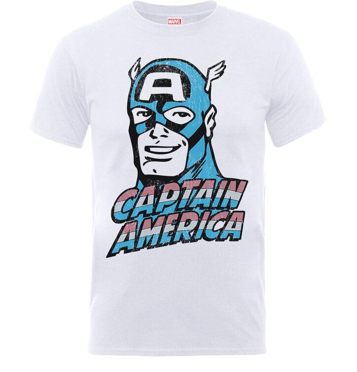 Bílé detské tričko Captain America Distressed Head