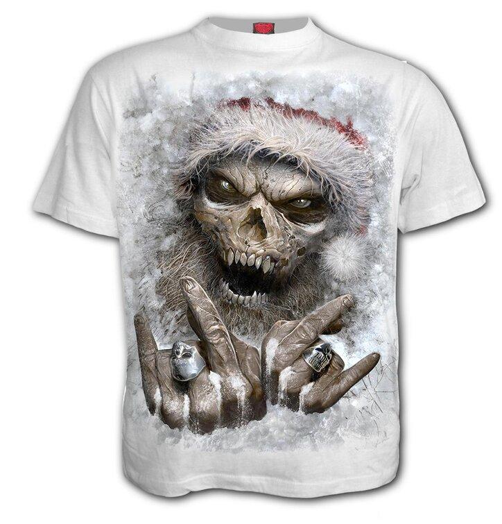 58648d75d40c Výpredaj Biele tričko Santa kostlivec