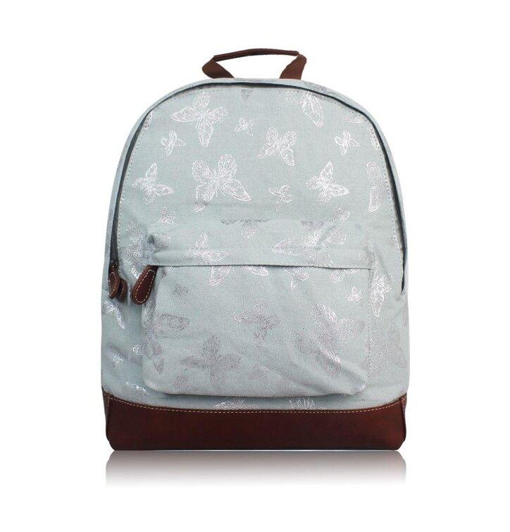 eaeb43ce371b Világoskék hátizsák egy zsebbel Ezüst pillangók | Dedoles