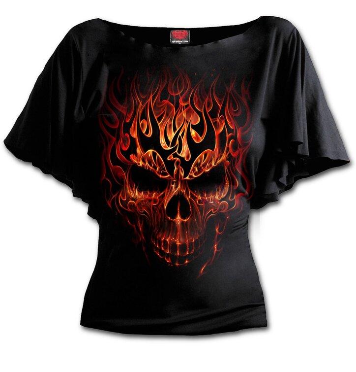 Dámské volánové tričko Exloze lebky