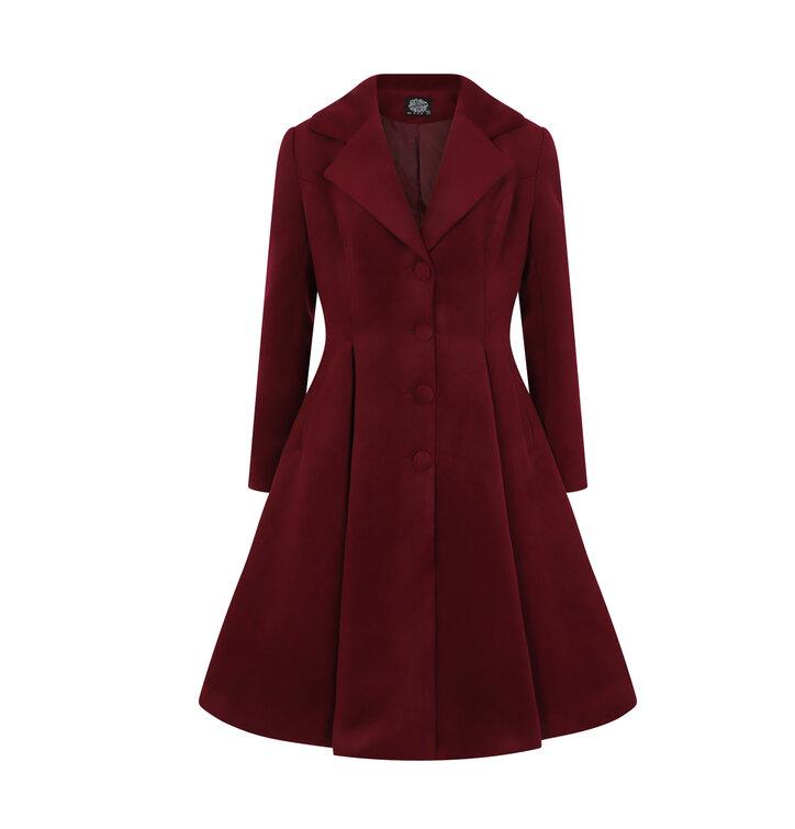 84d6cfa00 Pre dokonalý a originálny outfit Bordový dámsky retro kabát s gombíkmi