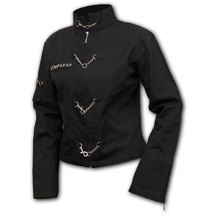 f1b554edce7f Lifestyle foto Čierna dámska látková bunda s retiazkovými aplikáciami