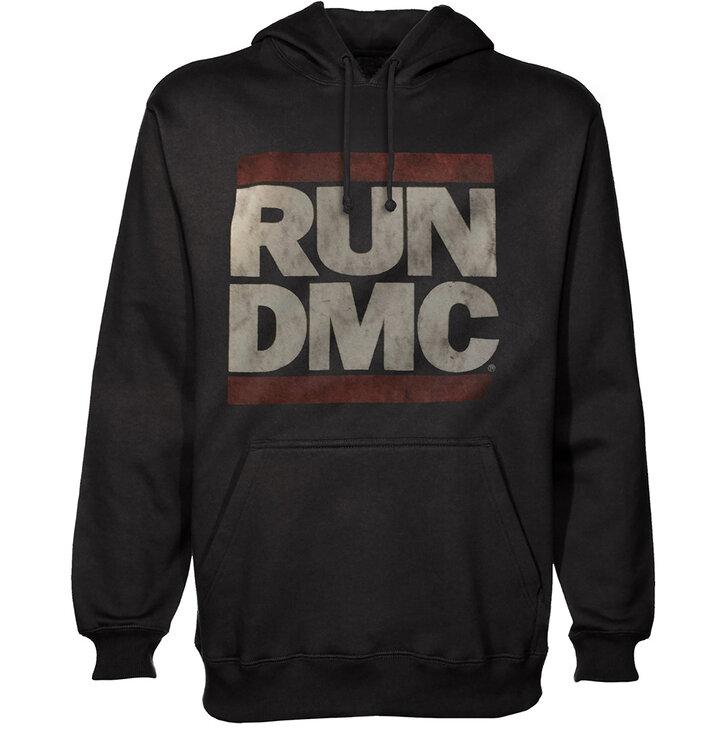 Čierna mikina s kapucňou Run DMC Logo