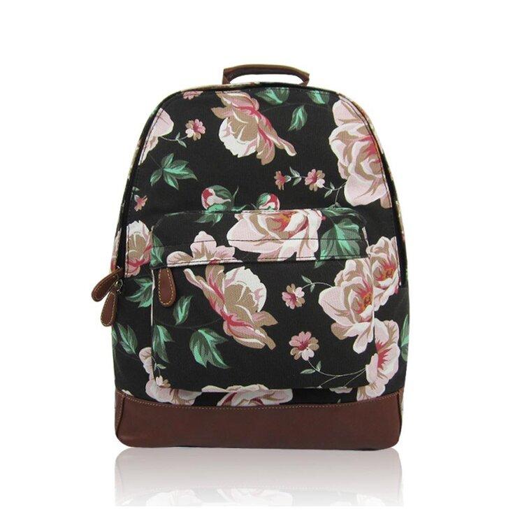 Výjimečný dárek od Dedoles Černý batoh s jednou kapsou Floral cf3b544b99