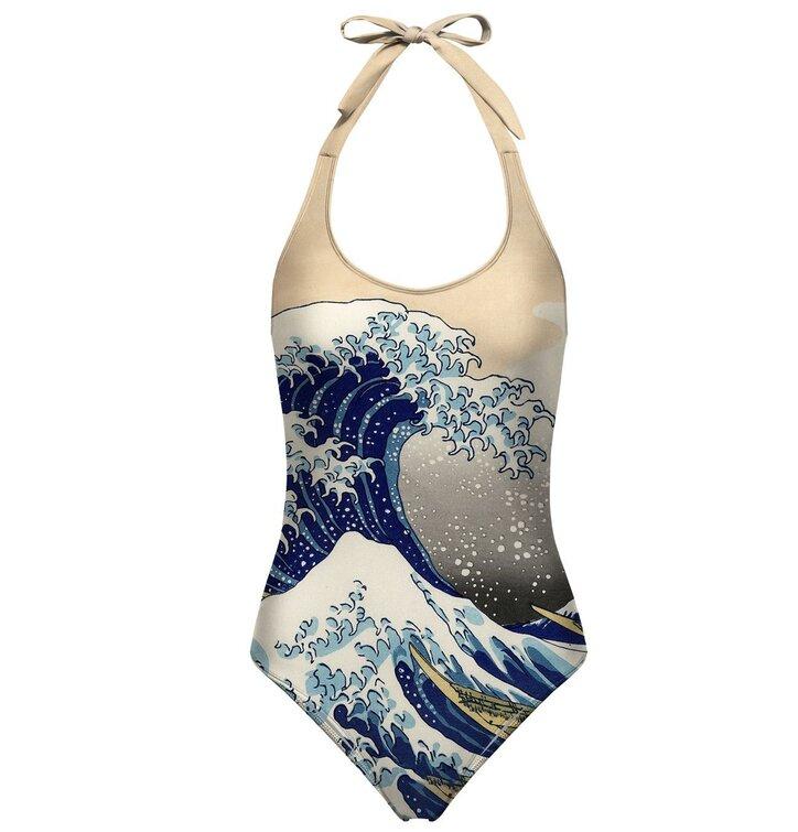 Nyitott hátú fürdőruha Kanagawa wave