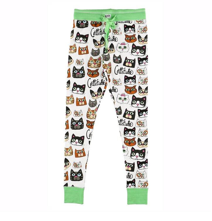 Dámske pyžamové legíny Mačací život