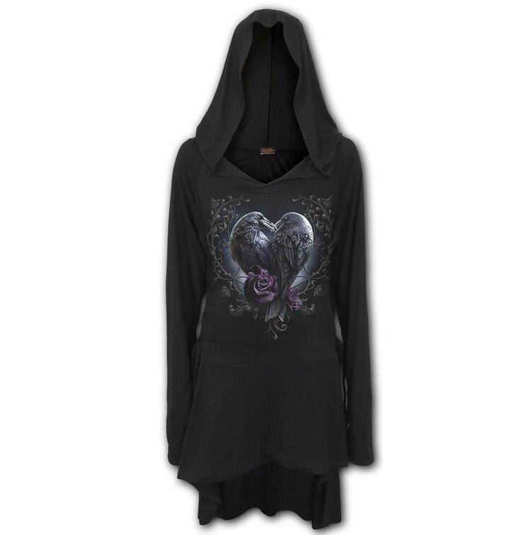 Ajándék tipp Női kapucnis ruha Varjú szív e2fb0ddf1b