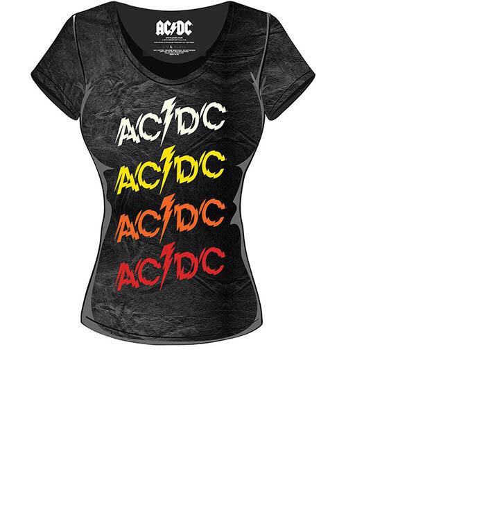 AC DC Powerage Repeat with Acid Wash Finish Női póló  e36666154b