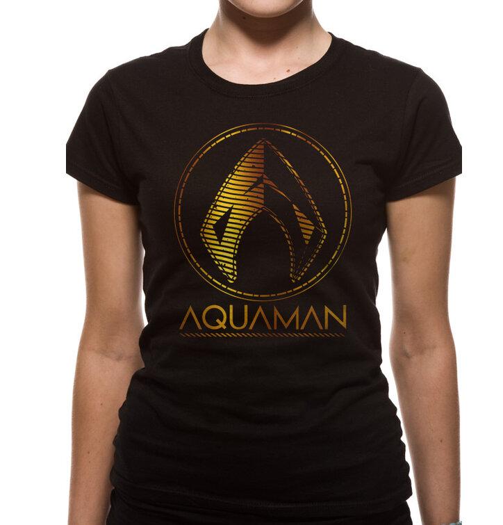 33efc01891ff Lifestyle foto Dámské triko Aquaman movie - Metallic symbol