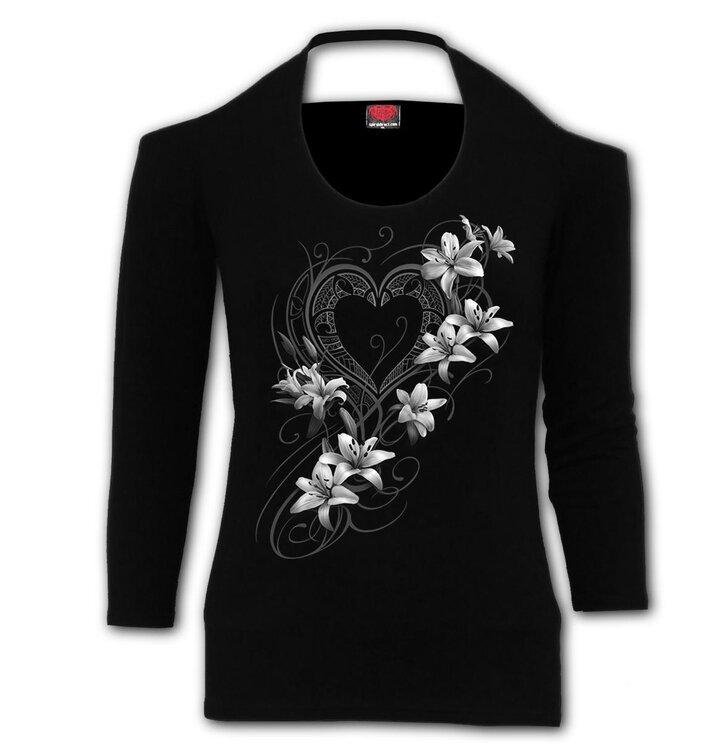 Dámske tričko okolo krku Biele kvety
