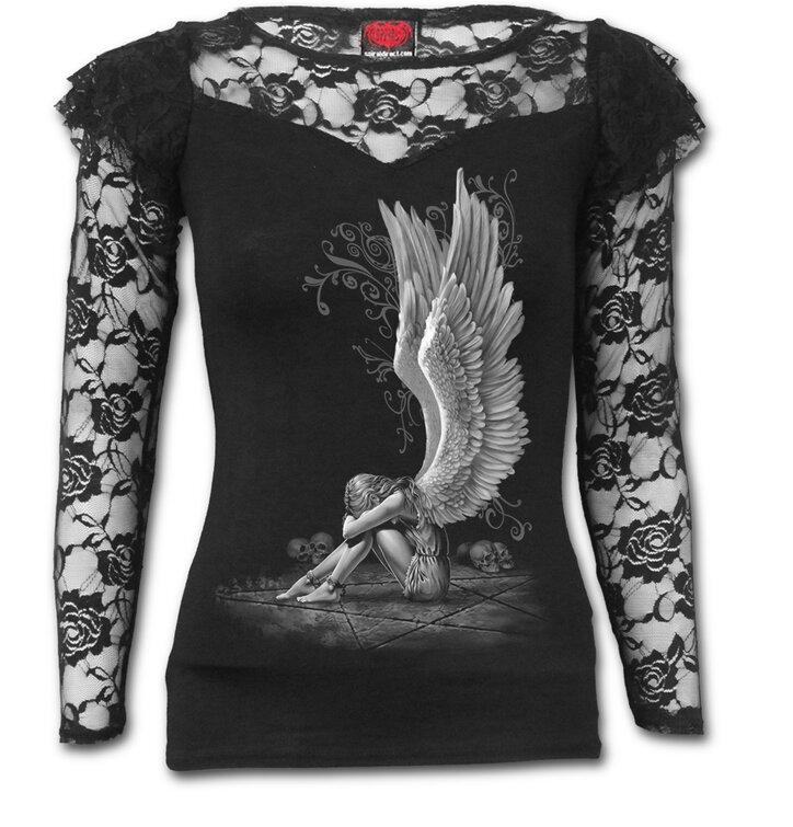 Tip na dárek Dámské tričko s krajkou Naříkající anděl bílý 0feccb74c9