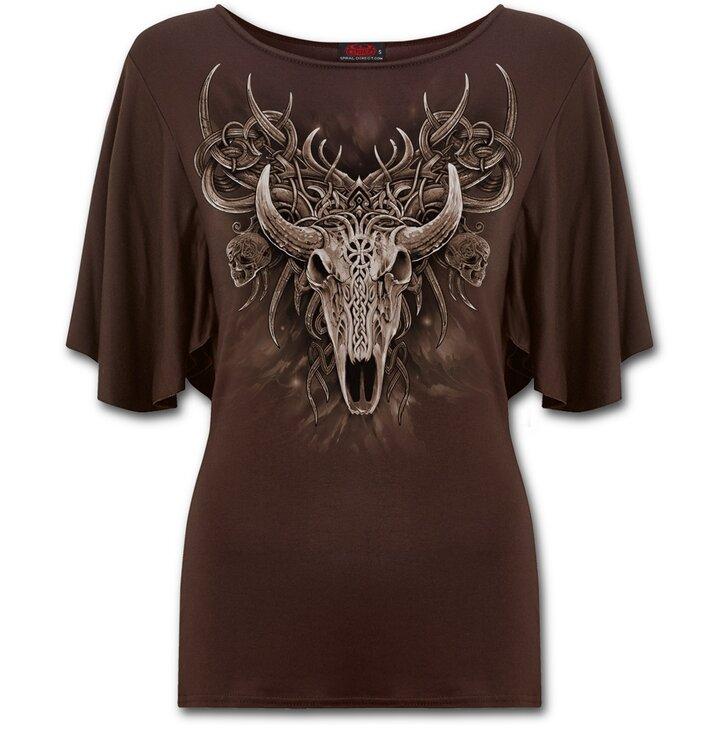 02215b0cc46c Hľadáte originálny a nezvyčajný darček  Obdarovaného zaručene prekvapí  Dámske volánové tričko Duša jeleňa