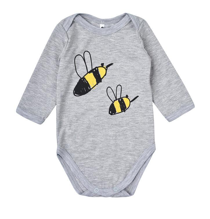 Detské šedé body s dlhým rukávom Včielky