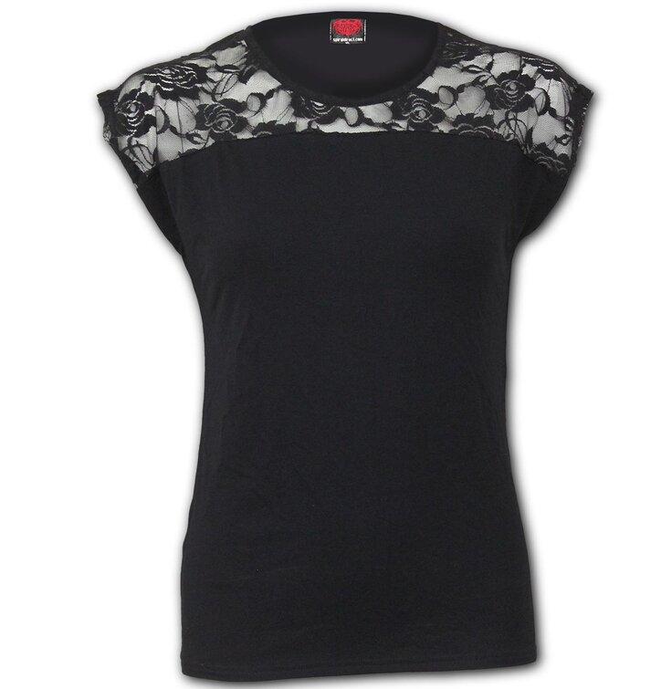 Elegantné tričko Čiernobiela čipka