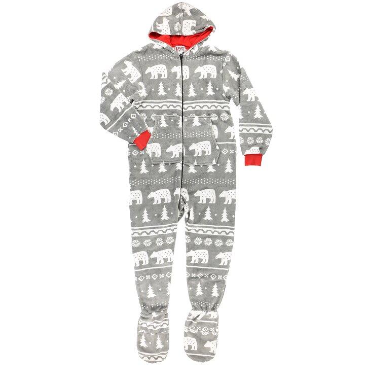 Flisový pyžamový overal s kapucňou Polárny medveď