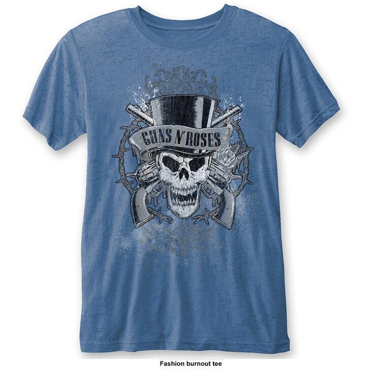 Bledomodré Tričko Guns N' Roses Faded Skull