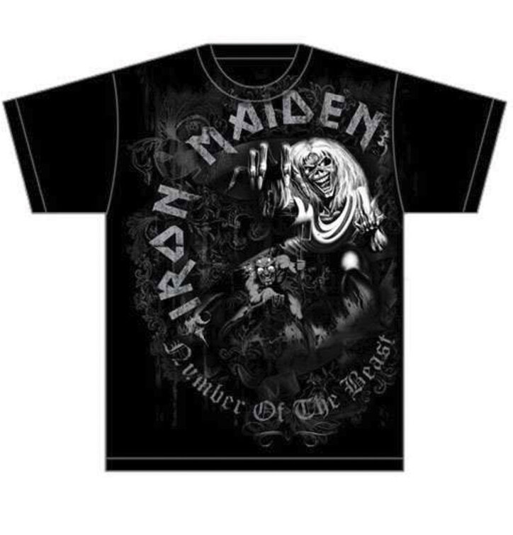 Tričko Iron Maiden Number of the Beast Grey Tone
