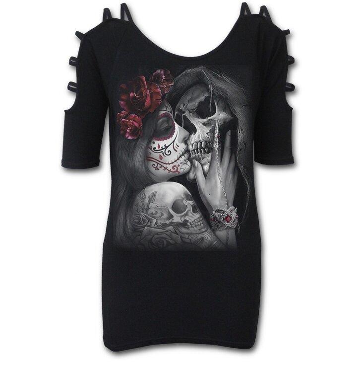 a631e9a52c07 Pre dokonalý a originálny outfit Dámske predĺžené tričko so šnúrkami na  ramenou Posmrtný bozk