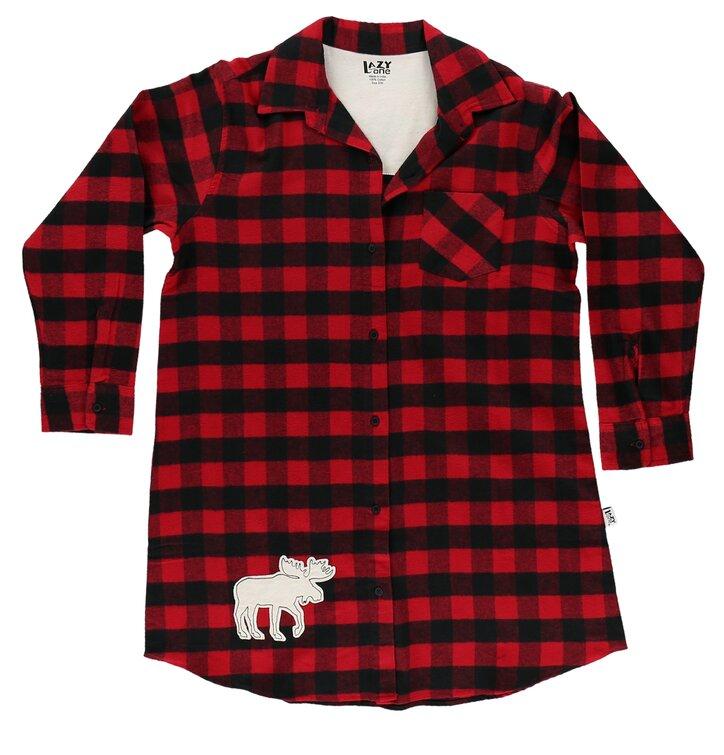6946fd71169 Tip na dárek Dámská flanelová noční košile kostkovaná černo-červená