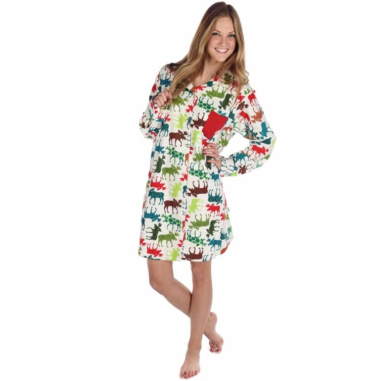 premium selection 4879f dba95 Damen Flanell-Nachthemd Farbige Rentierchen | Dedoles