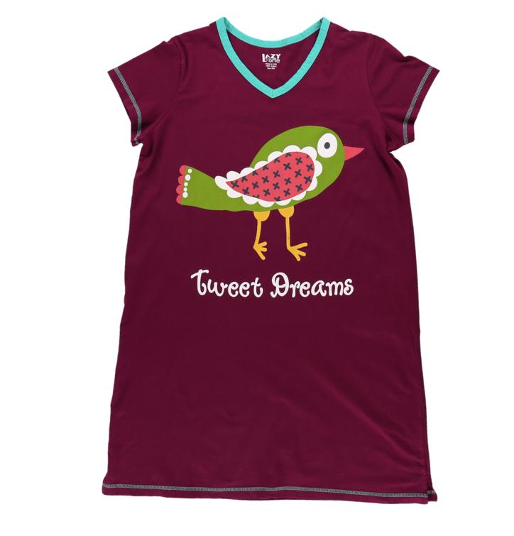 409bbf341db3 Hľadáte originálny a nezvyčajný darček  Obdarovaného zaručene prekvapí  Dámska nočná košeľa s véčkovým výstrihom Vtáčik