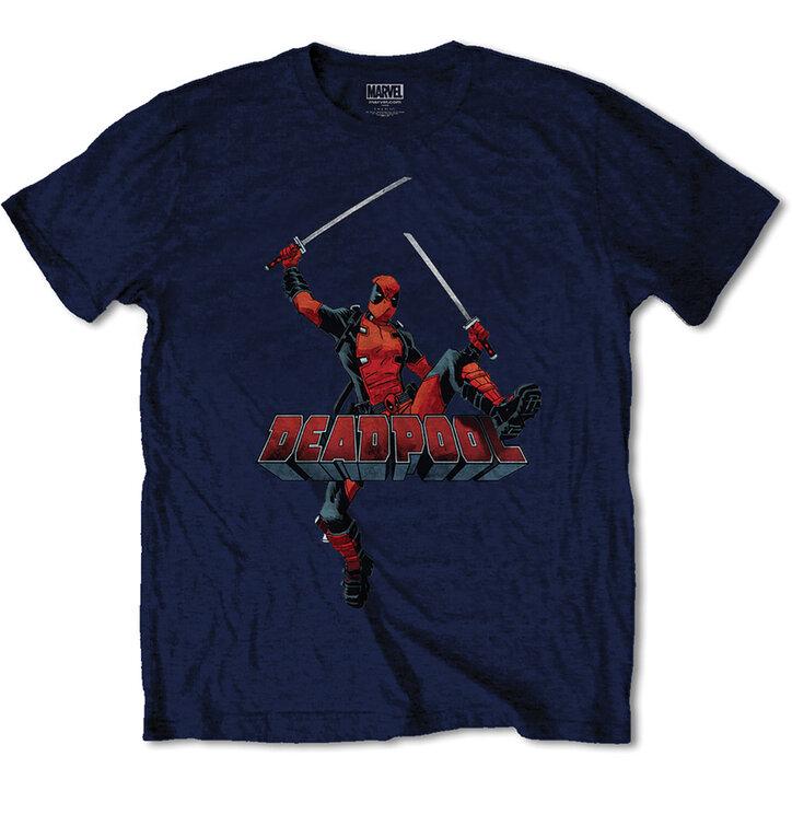 Тъмносиня Тениска Marvel Comics Deadpool Logo Jump
