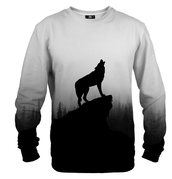 Sweatshirt ohne Kapuze Wolf auf dem Fels